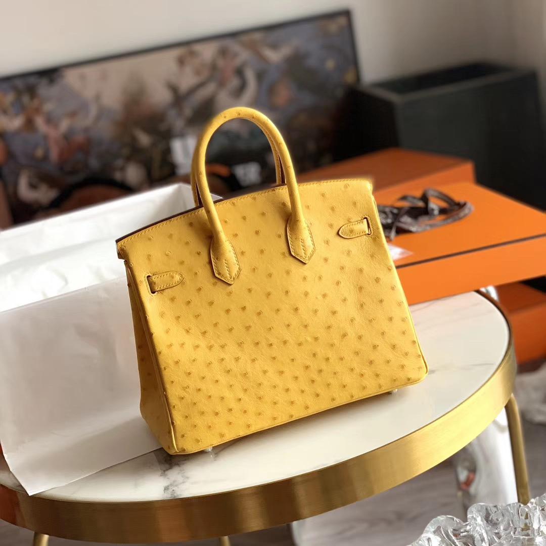 Hermes Birkin 铂金包 BK 25cm 全手缝 琥珀黄 9D 原厂南非KK Ostrich 鸵鸟皮