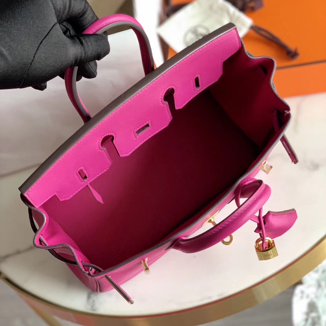 Hermes 铂金包 Birkin Bk 25cm   L3 玫瑰紫 全手缝 原厂Swift皮 金扣