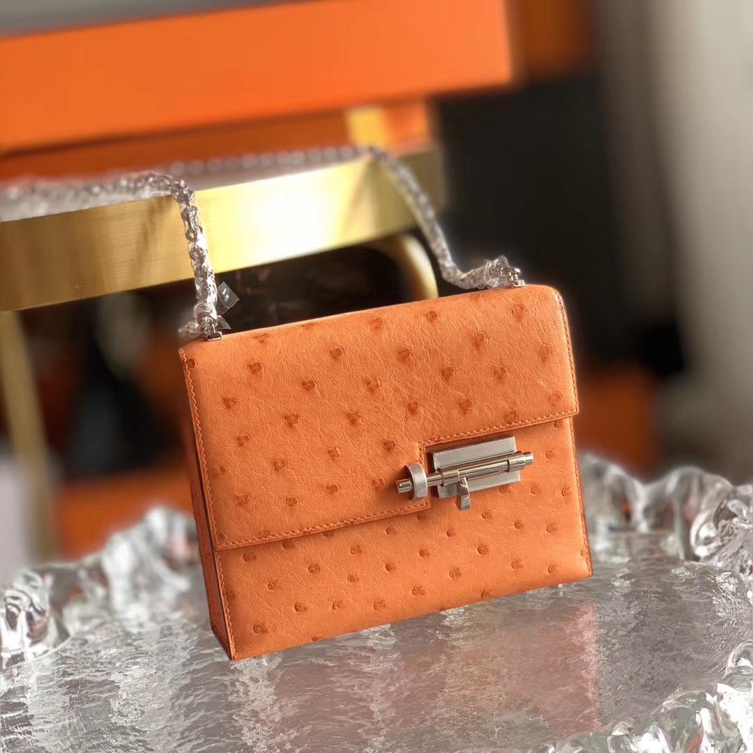 Hermes Verrou mini 18cm 插销包   原装南非KK鸵鸟皮 Ostrich 9J 橙色