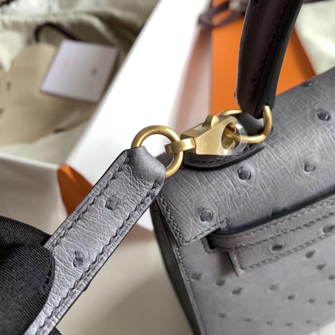 Hermes 凯莉包 Kelly 25cm Ostrich全手缝   玛瑙灰色 原装南非KK鸵鸟皮