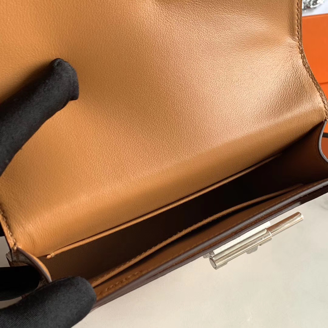 Hermes Verrou mini 18cm 插销包   原装南非KK鸵鸟皮 Ostrich GOLD色 浅咖 啡