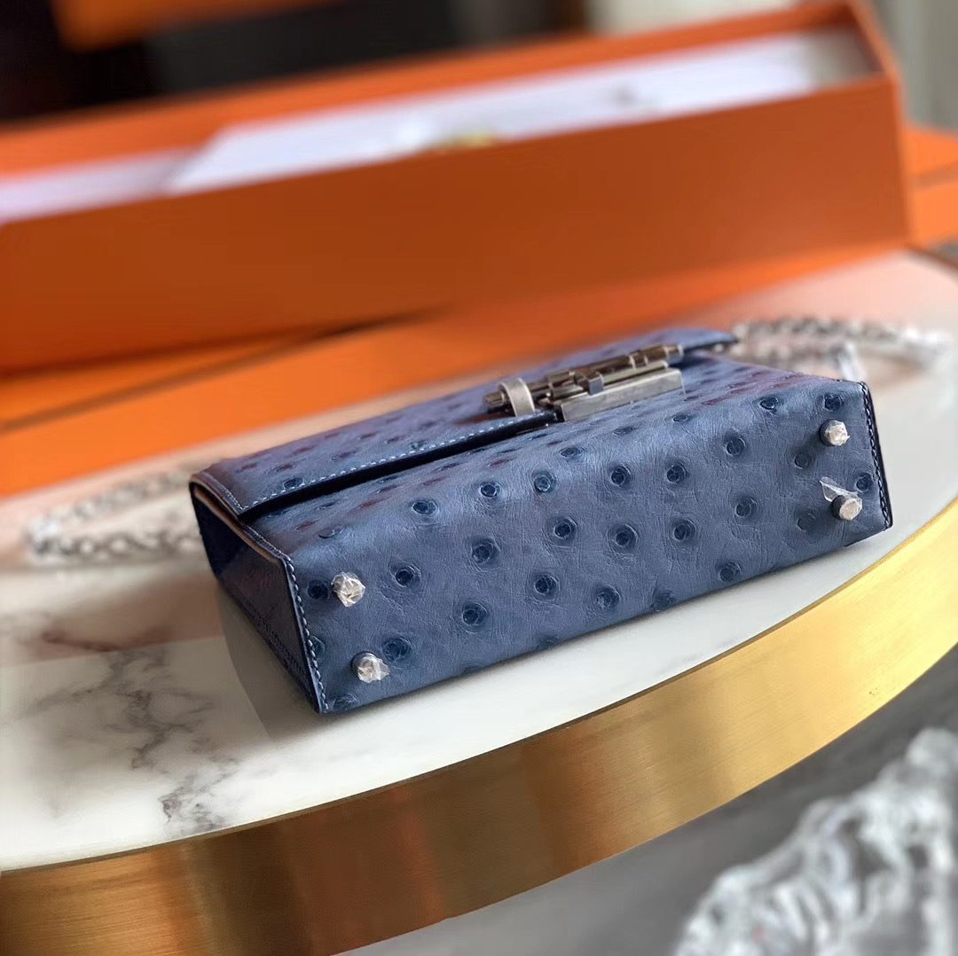 Hermes Verrou mini 18cm 插销包   原装南非KK鸵鸟皮 Ostrich玛瑙蓝 R2