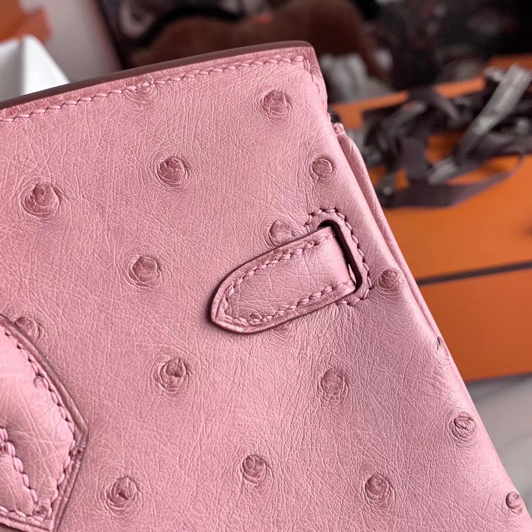 Hermes Birkin 铂金包 BK 25cm 全手缝 CC 94 陶瓷粉 原厂南非KK Ostrich 鸵鸟皮