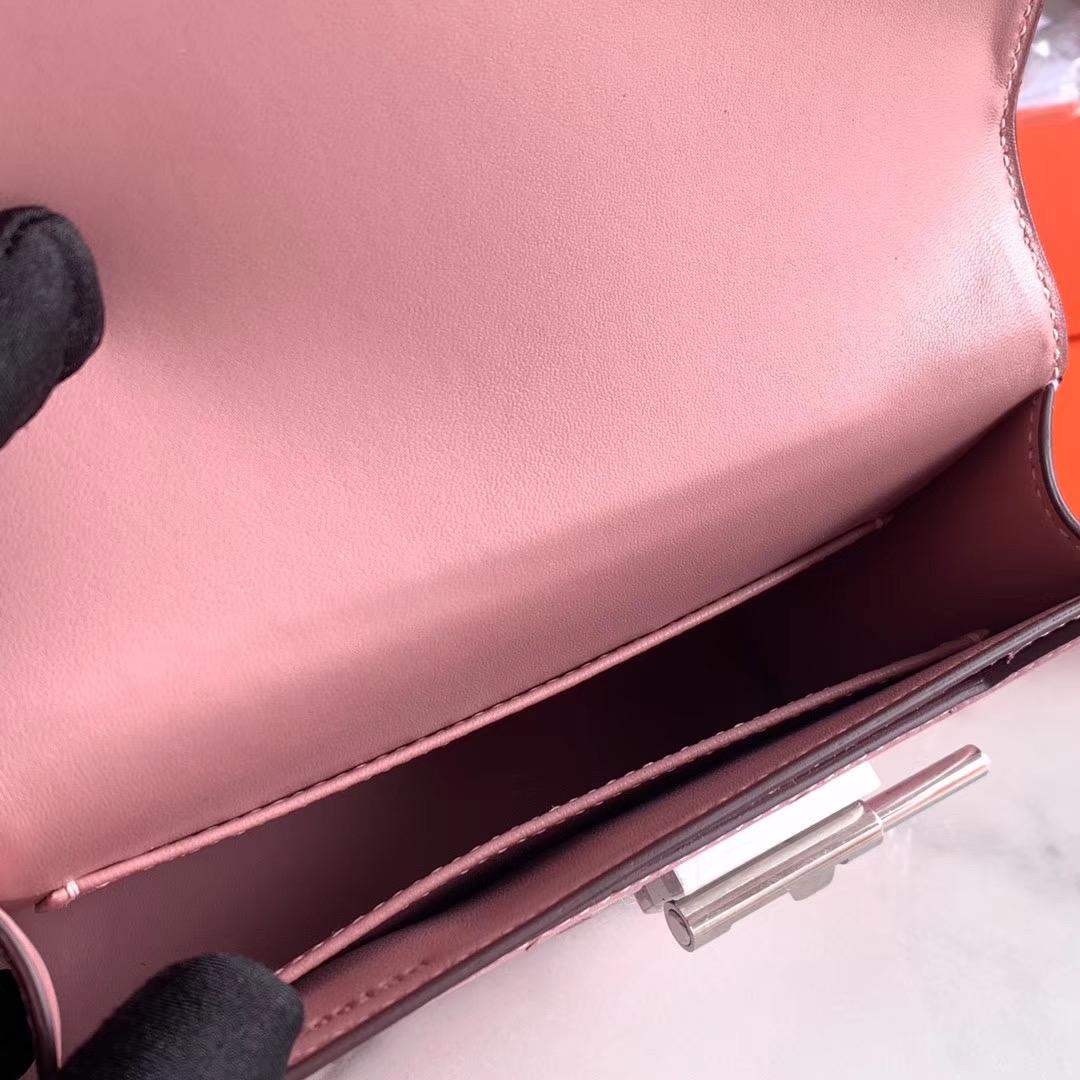 Hermes Verrou mini 18cm 插销包   原装南非KK鸵鸟皮 Ostrich CC94 陶瓷粉