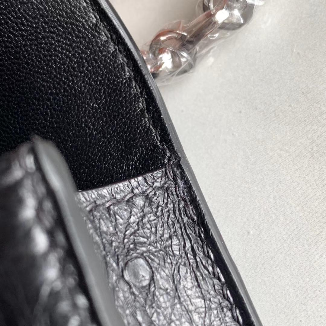 Hermes Verrou mini 18cm 插销包   原装南非KK鸵鸟皮 Ostrich 黑色 Nior
