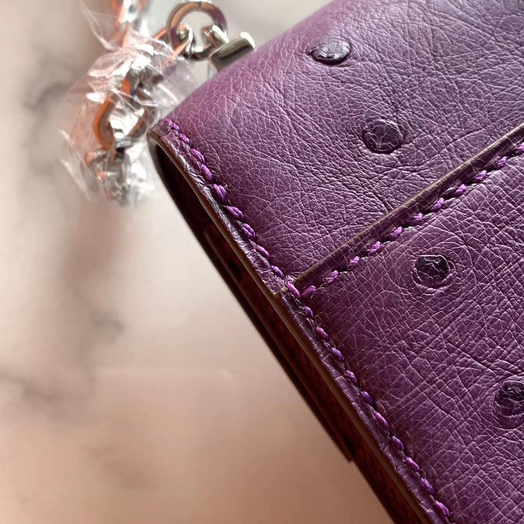 Hermes Verrou mini 18cm 插销包   原装南非KK鸵鸟皮 Ostrich P9 海葵紫