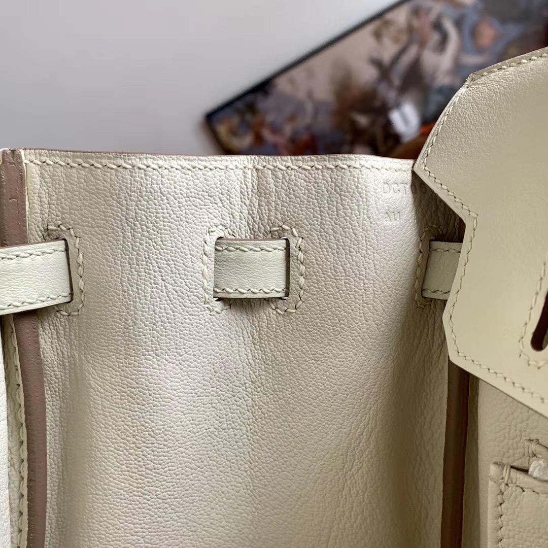Hermes 超百搭 cc10 奶昔白 Bk 25cm 全手缝   原厂Swift皮 玫瑰金