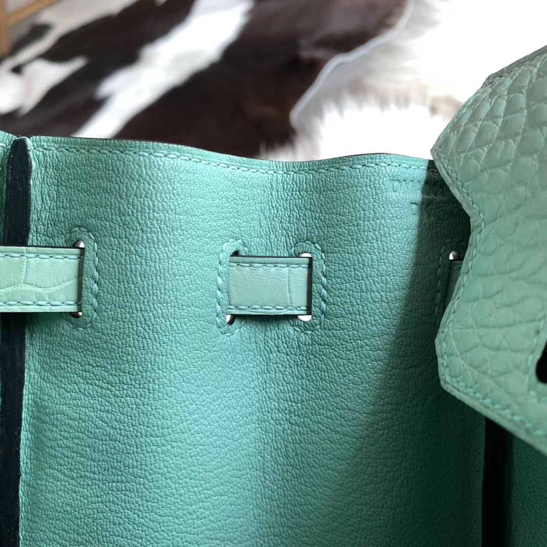 Hermes Birkin 25CM 铂金包  薄荷绿 6U 无敌好看的颜色  Hcp雾面美洲鳄鱼皮