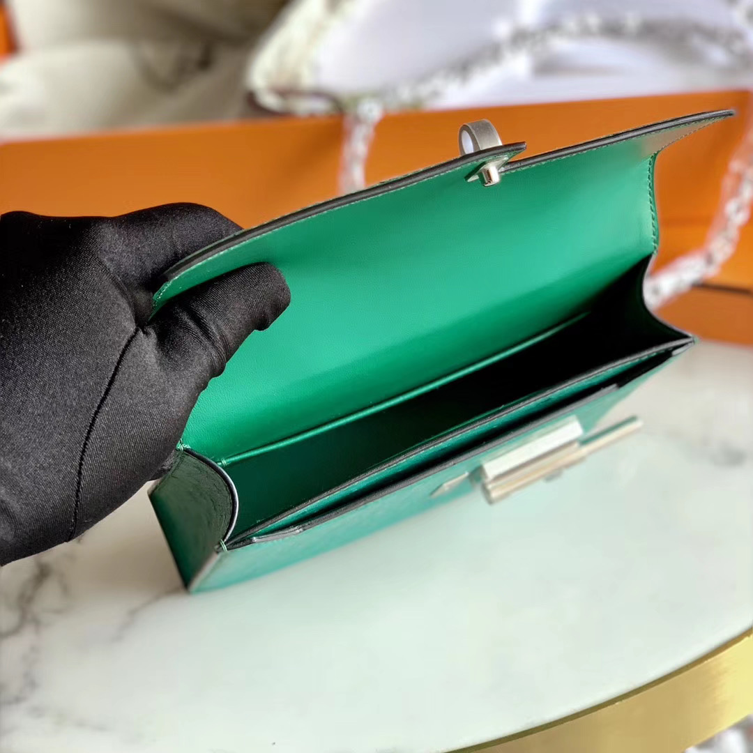 Hermes Verrou mini 18cm 插销包   原装南非KK鸵鸟皮 Ostrich U4 丝绒绿