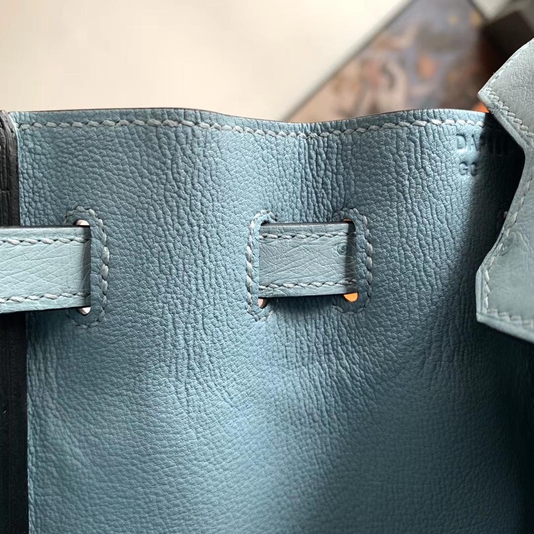 Hermes Birkin 铂金包 BK 25cm 全手缝  J7 亚麻蓝色 原厂南非KK Ostrich 鸵鸟皮