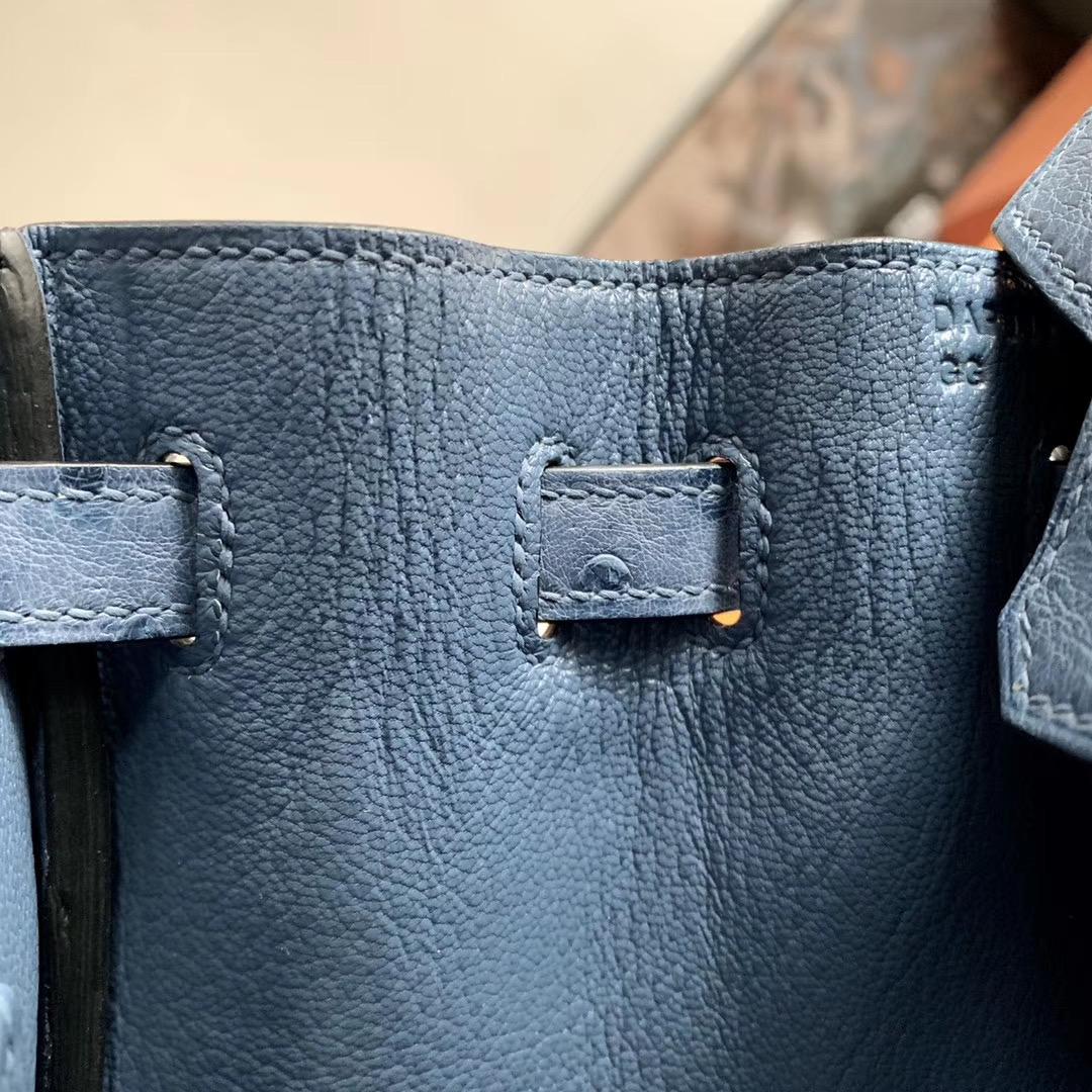 爱马仕包包 Hermes Birkin BK 铂金包 25cm 全手缝   玛瑙蓝 R2 原厂南非KK Ostrich鸵鸟皮