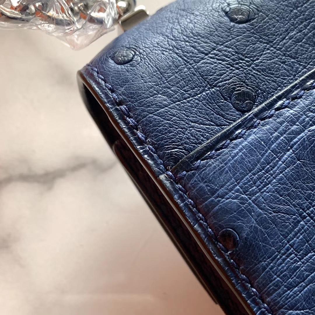 Hermes Verrou mini 18cm 插销包   原装南非KK鸵鸟皮 Ostrich 7K 宝石蓝