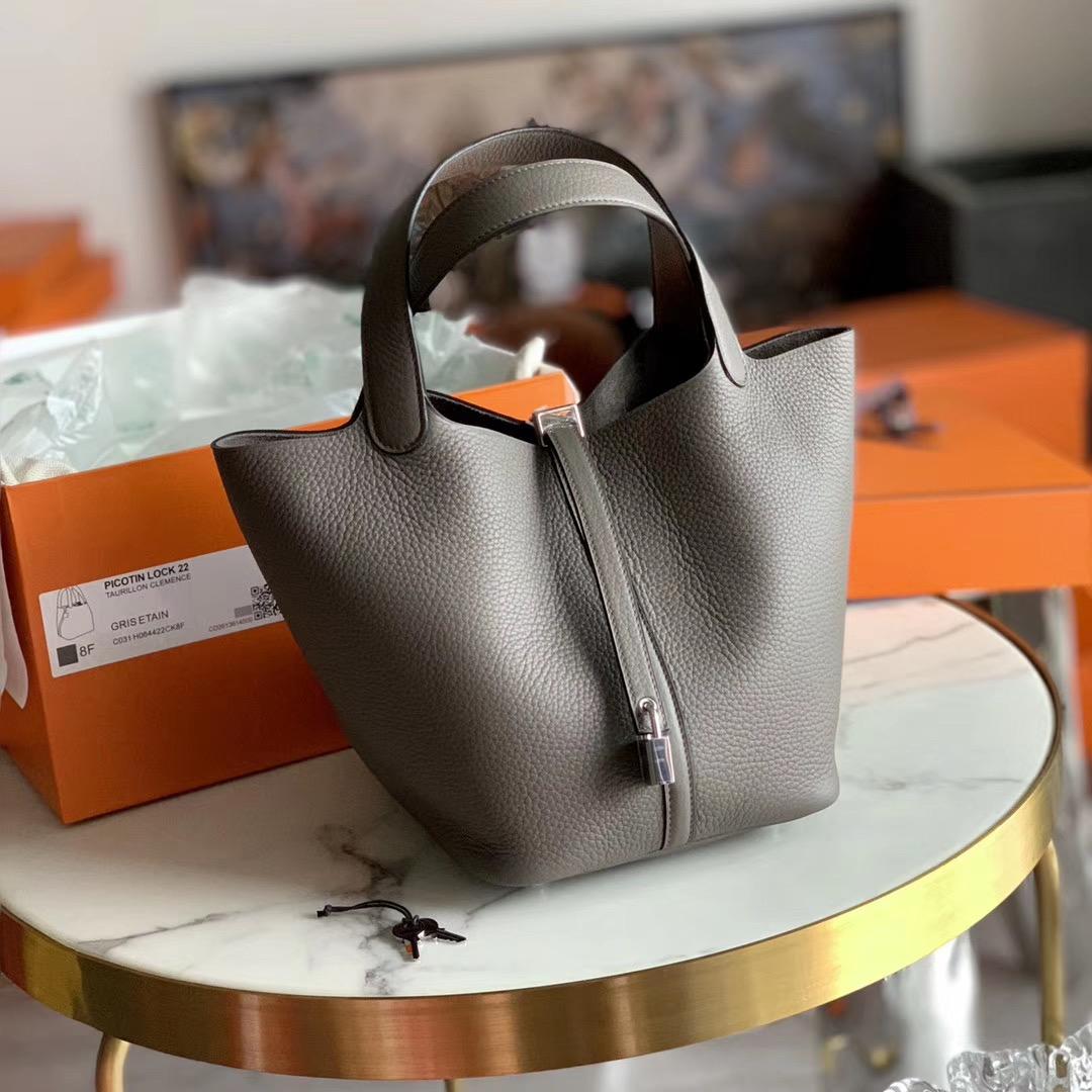 Hermes Picotin Lock 菜篮子 22cm 水桶包   锡器灰 色号8F 原厂TC皮