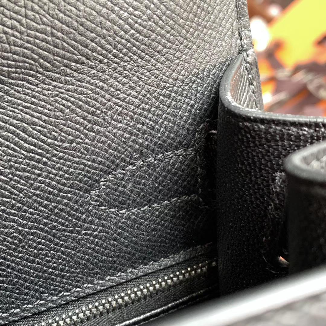 Hermes Kelly 凯莉包 28cm 黑色 Nior 银扣   原厂Epsom皮 全手缝