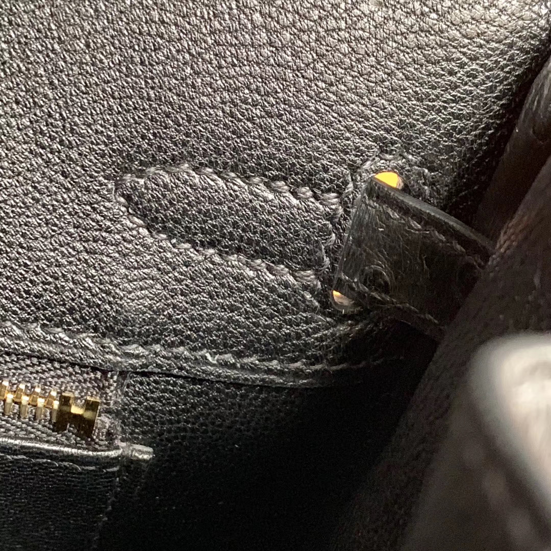 Hermes Birkin 铂金包 25cm 全手缝 黑色 Nior 金扣 原装南非KK Ostrich 鸵鸟皮