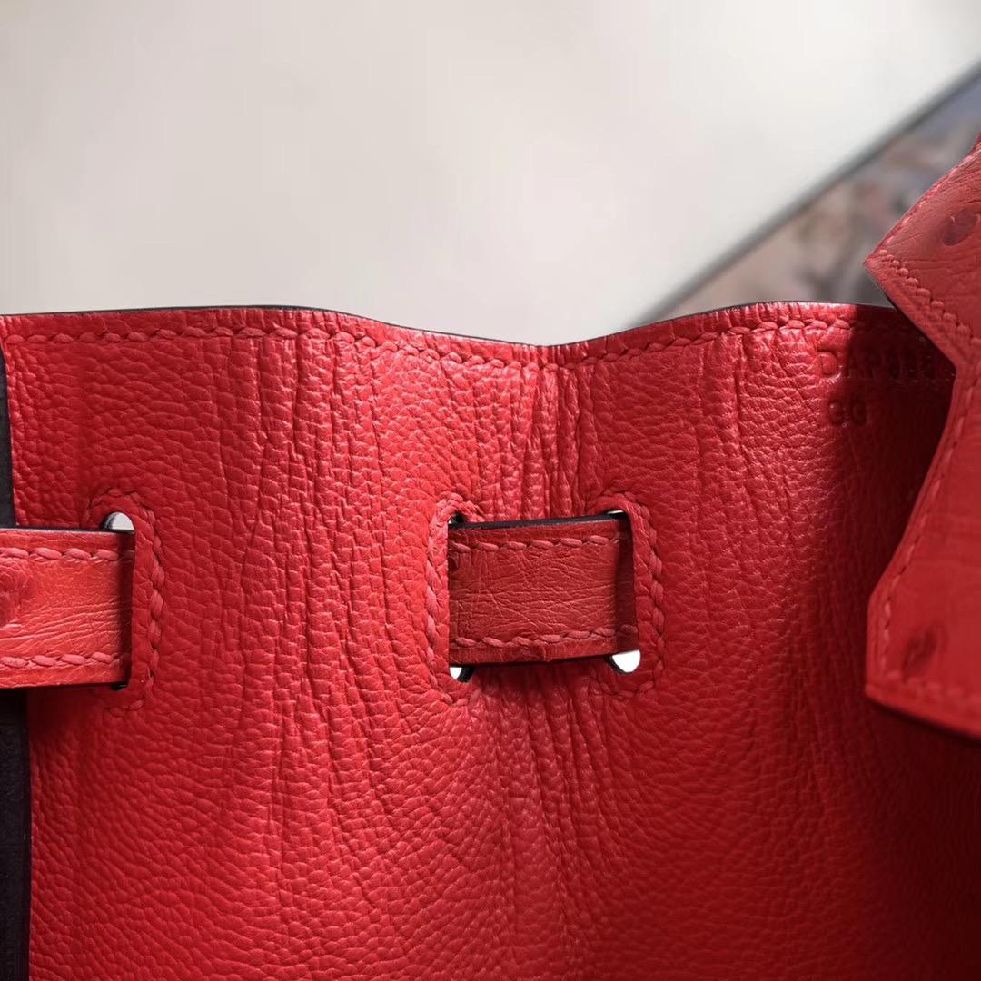 Hermes Birkin 铂金包 BK 25cm 全手缝 原色红 Q5 原厂南非KK Ostrich 鸵鸟皮