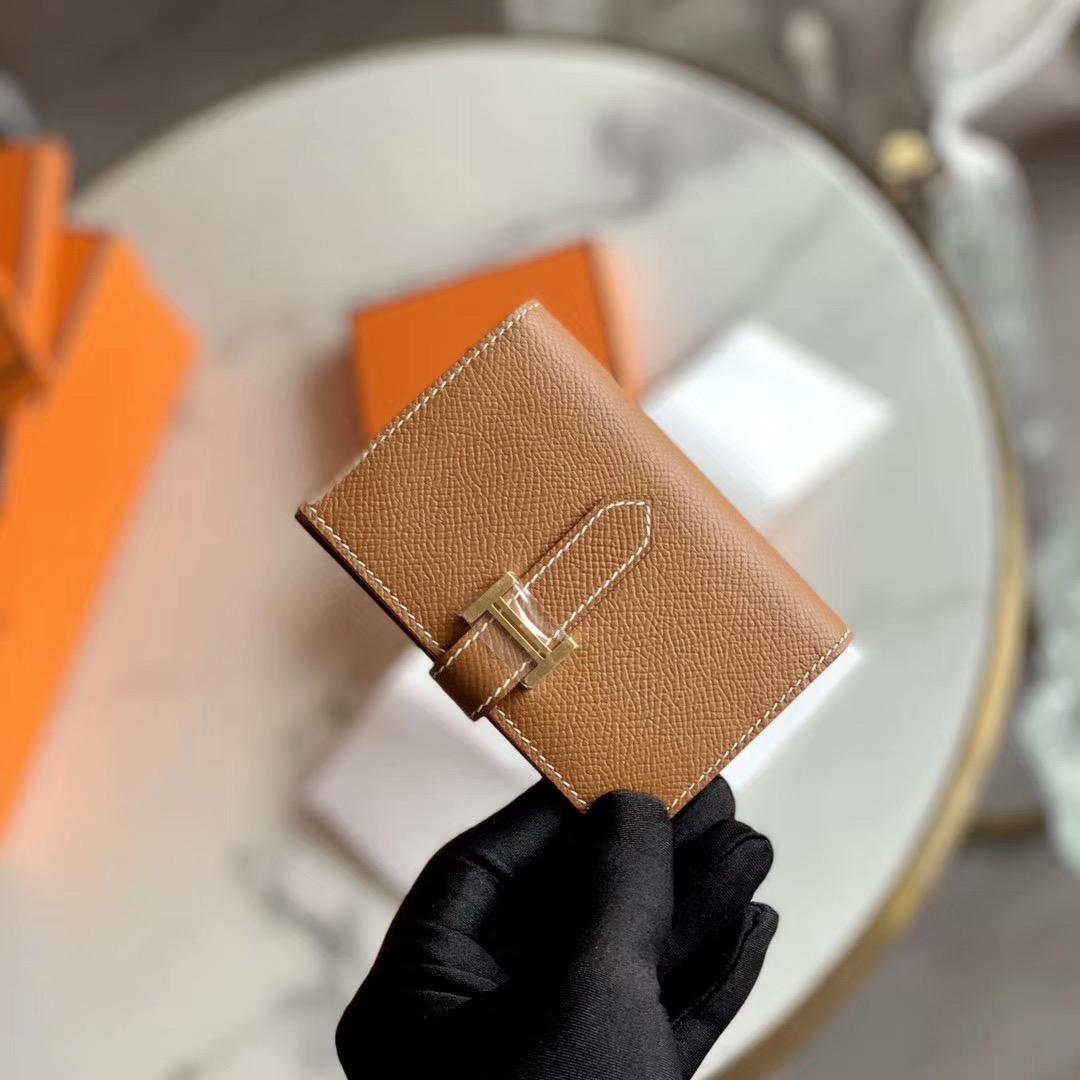 HERMES 经典H扣 Bearn Mini 卡包 原厂EPSOM皮 浅咖啡 GOLD色  金扣