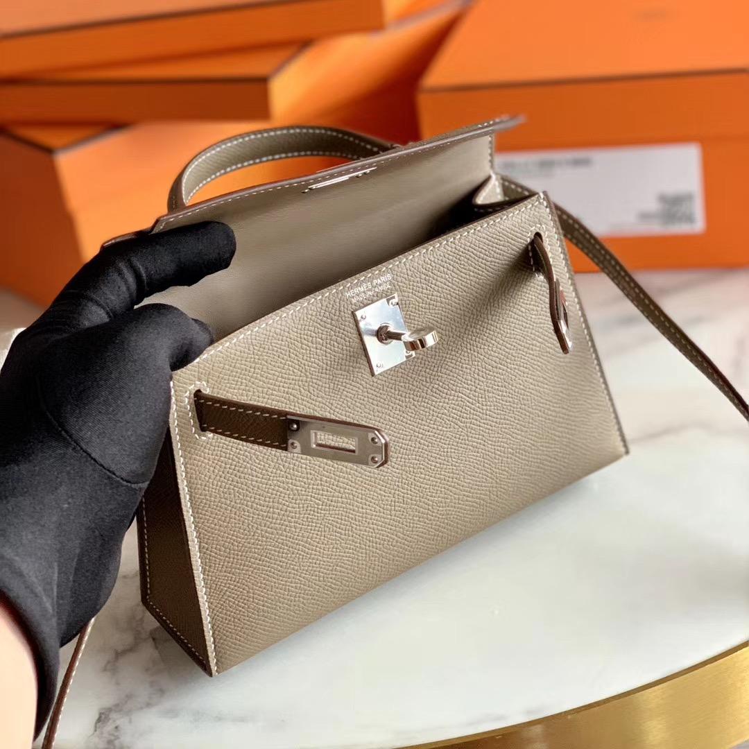 Hermes 全手缝 迷你凯莉Mini Kelly 二代 大象灰 银扣 Epsom皮 单肩斜挎手提包