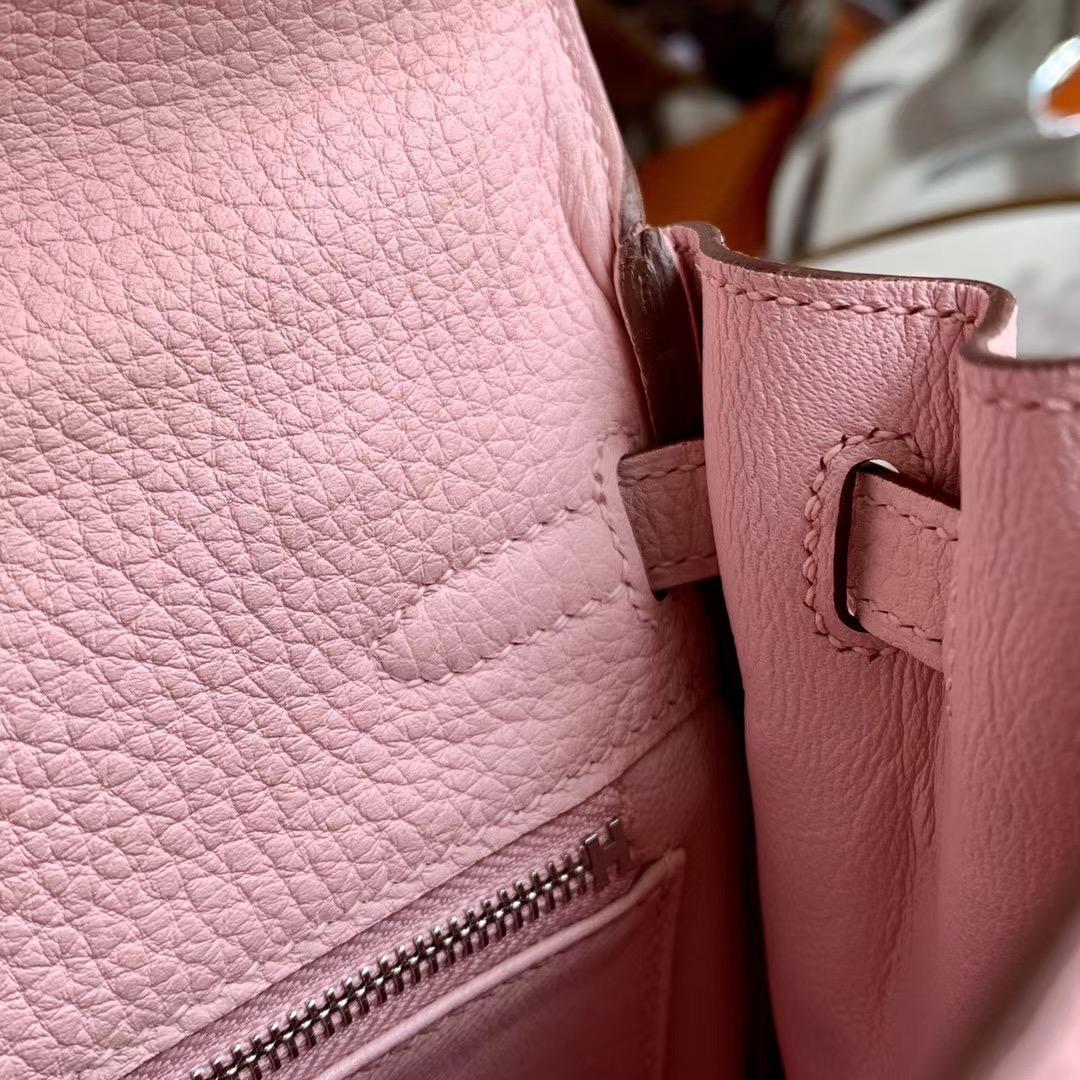 爱马仕包包 全手缝 Kelly 凯莉包 25cm 原厂togo皮 3Q 樱花粉 单肩手提斜挎包