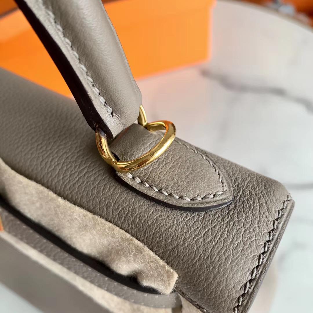 Hermes Kelly 凯莉包 25cm 巴黎灰 m8 金扣 原厂Evercolor皮 全手缝