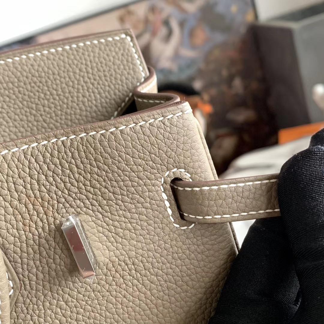 HERMES 超经典 大象灰 CK18 铂金包 Birkin 25cm 全手缝 原厂Togo皮