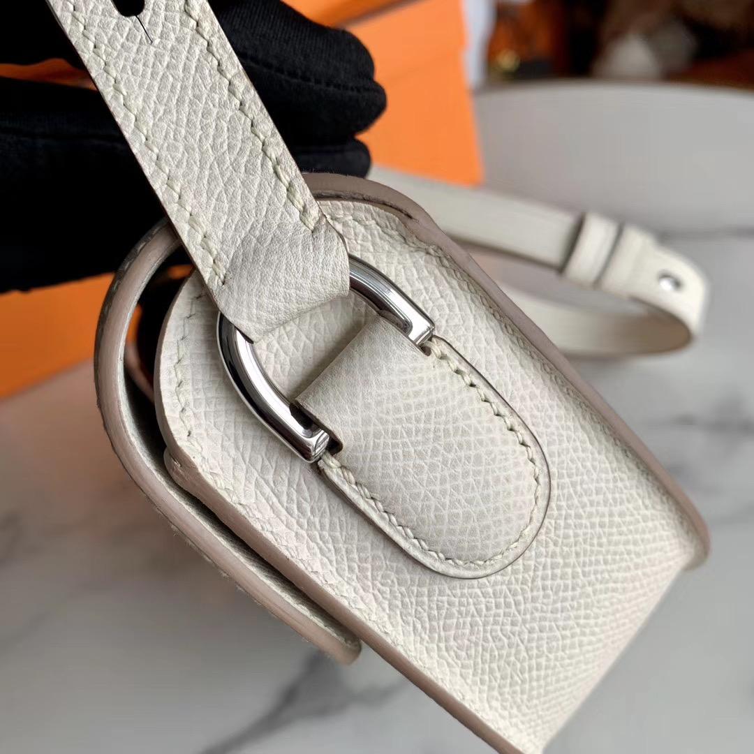 HERMES Cherche Midi 18cm 小可爱一枚 奶昔白 CC10 原厂EPSOM皮 肩带可调节长度