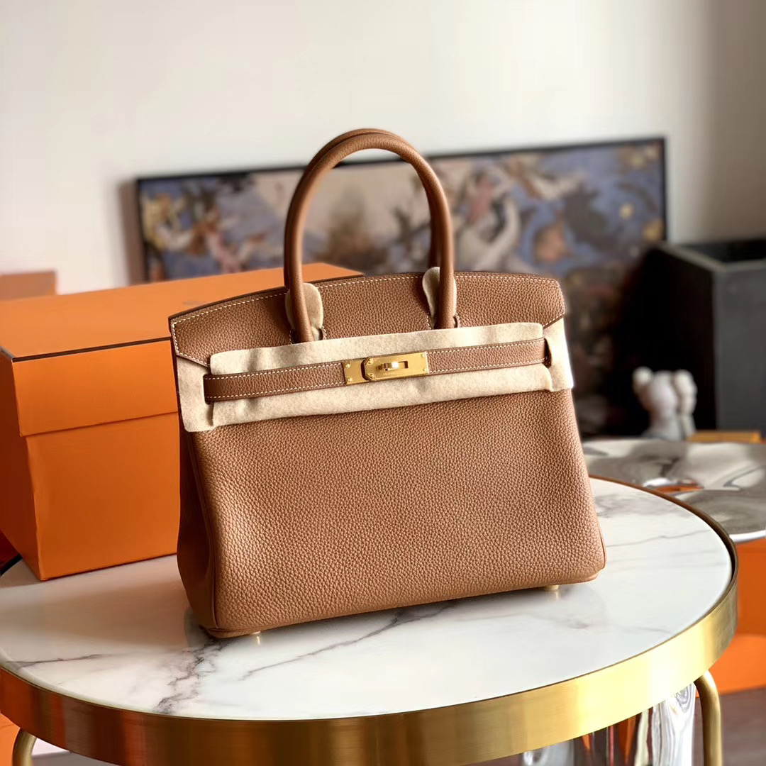 HERMES 超经典 Gold色 浅咖啡 金棕色 铂金包 Bk 30cm 全手缝 原厂TOGO皮 金扣