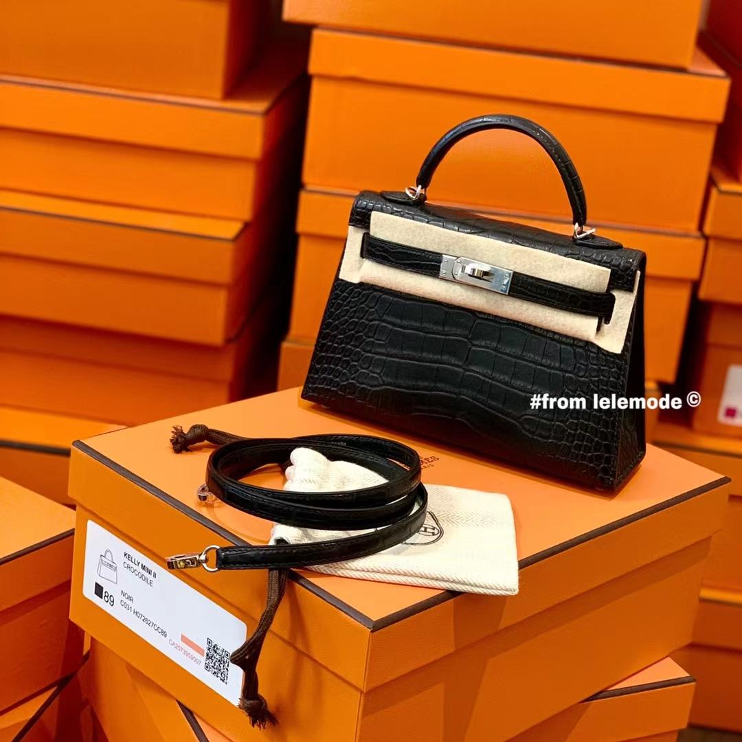 Hermès(爱马仕)Minikelly 迷你凯莉 二代 Nior 89黑色 原厂美洲鳄鱼 方块级别 雾面