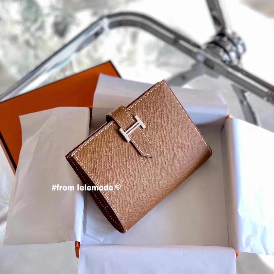 Hermès(爱马仕)经典H扣 Bearn 短款 钱包 浅咖啡 金棕色 CK37 GOLD 全手缝