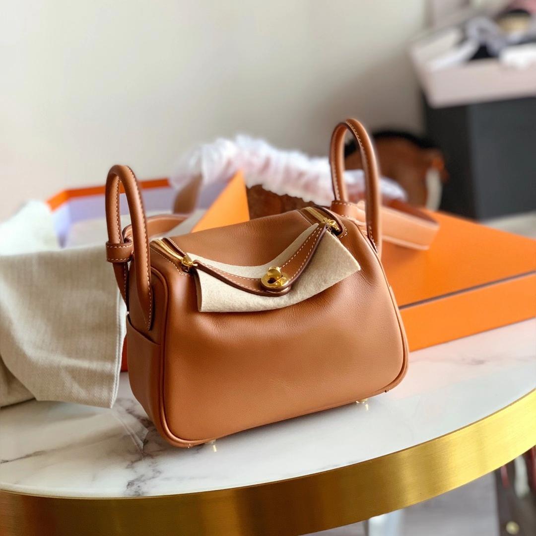 Hermès(爱马仕)新款 Mini lindy 迷你琳迪包 20cm Gold 金棕色 浅咖啡 原厂Swift皮