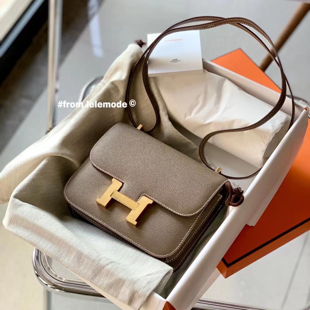 Hermès(爱马仕)康斯坦斯 小康Constance 18cm 大象灰 CK18 原厂Epsom皮 金扣 全手缝