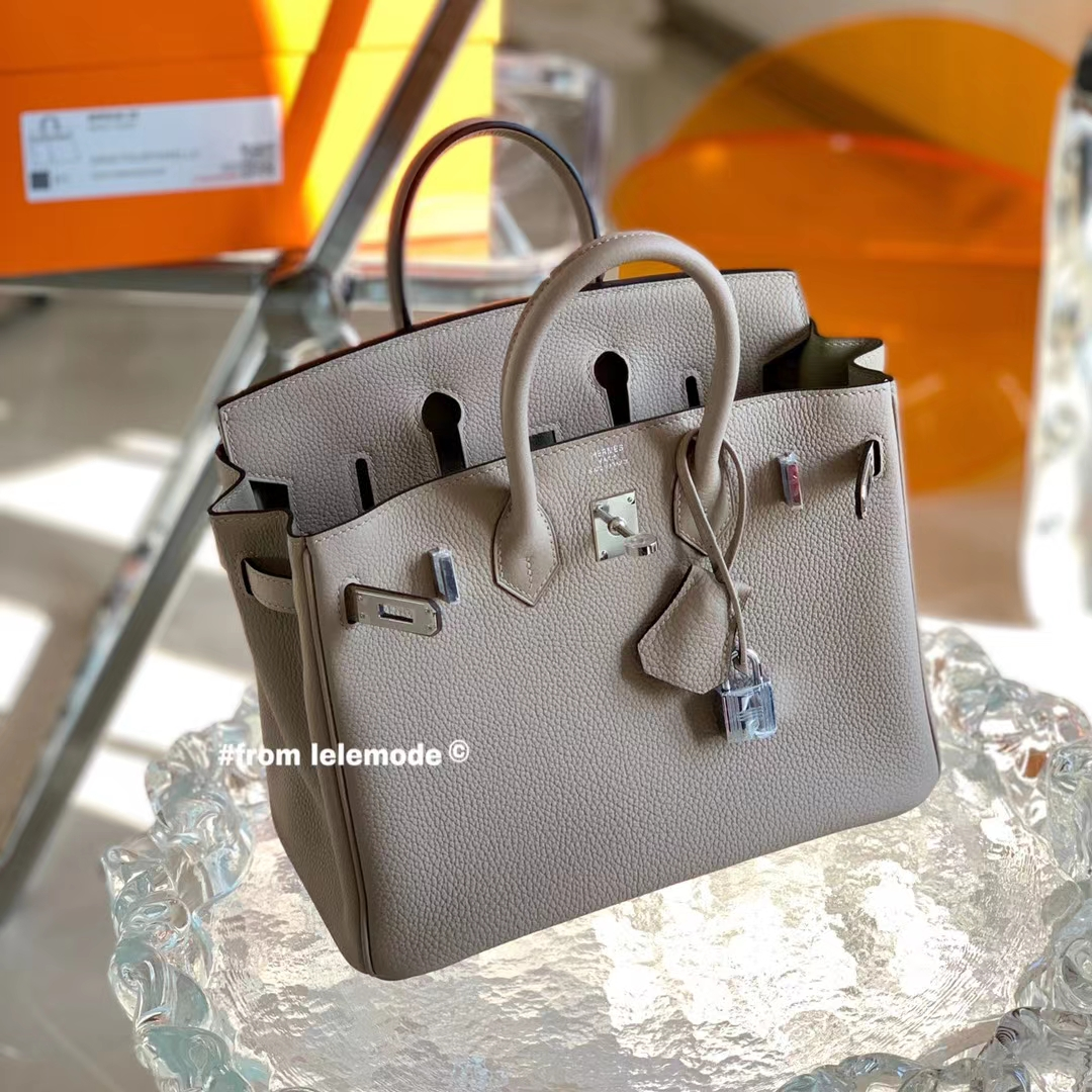 Hermès(爱马仕)铂金包 Bk 25cm 斑鸠灰 CK81 原厂togo皮 银扣 全手缝
