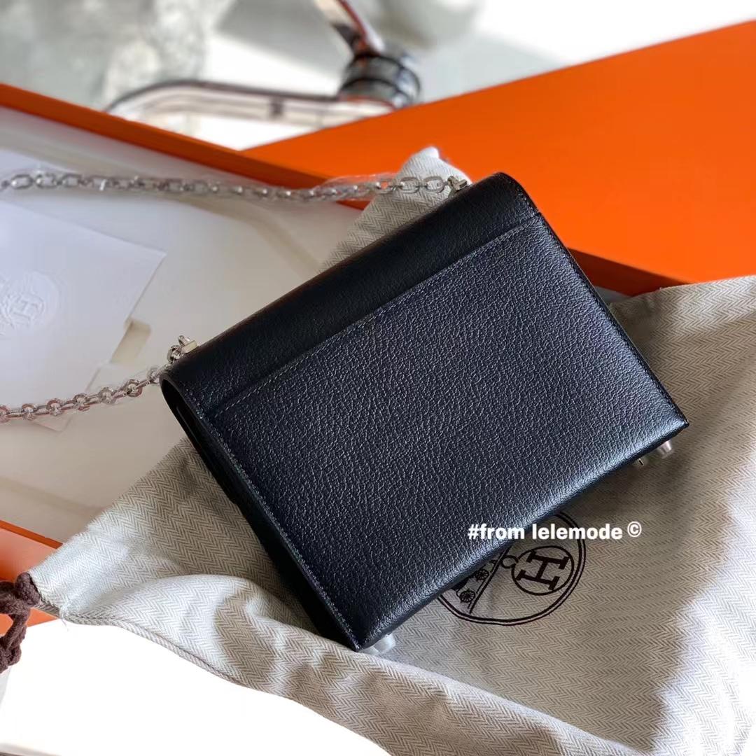 Hermès(爱马仕)原厂山羊皮 H Verrou mini 18cm 插销包 黑色 89 Nior 银扣