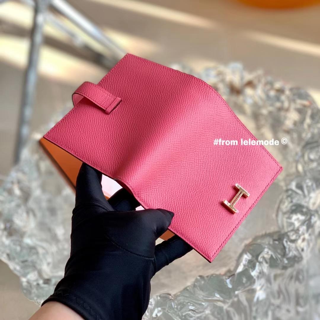 Hermès(爱马仕)经典H扣 Bearn 短款 钱包 唇膏粉 色号8W 金扣 全手缝