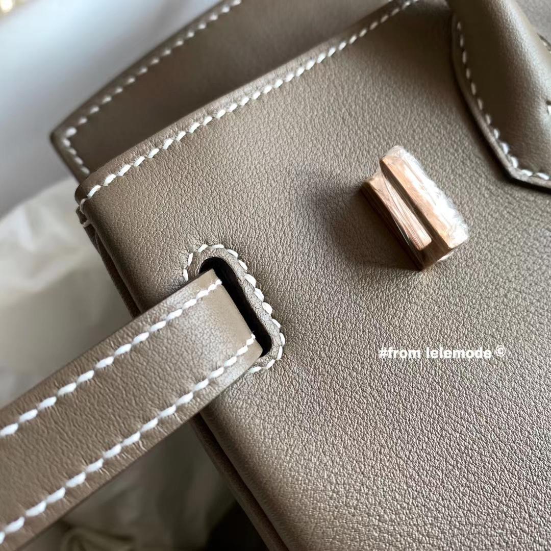 Hermès(爱马仕)铂金包 BK 25cm 经典色 大象灰 CK18 原厂Swift皮 玫瑰金扣 纯手缝