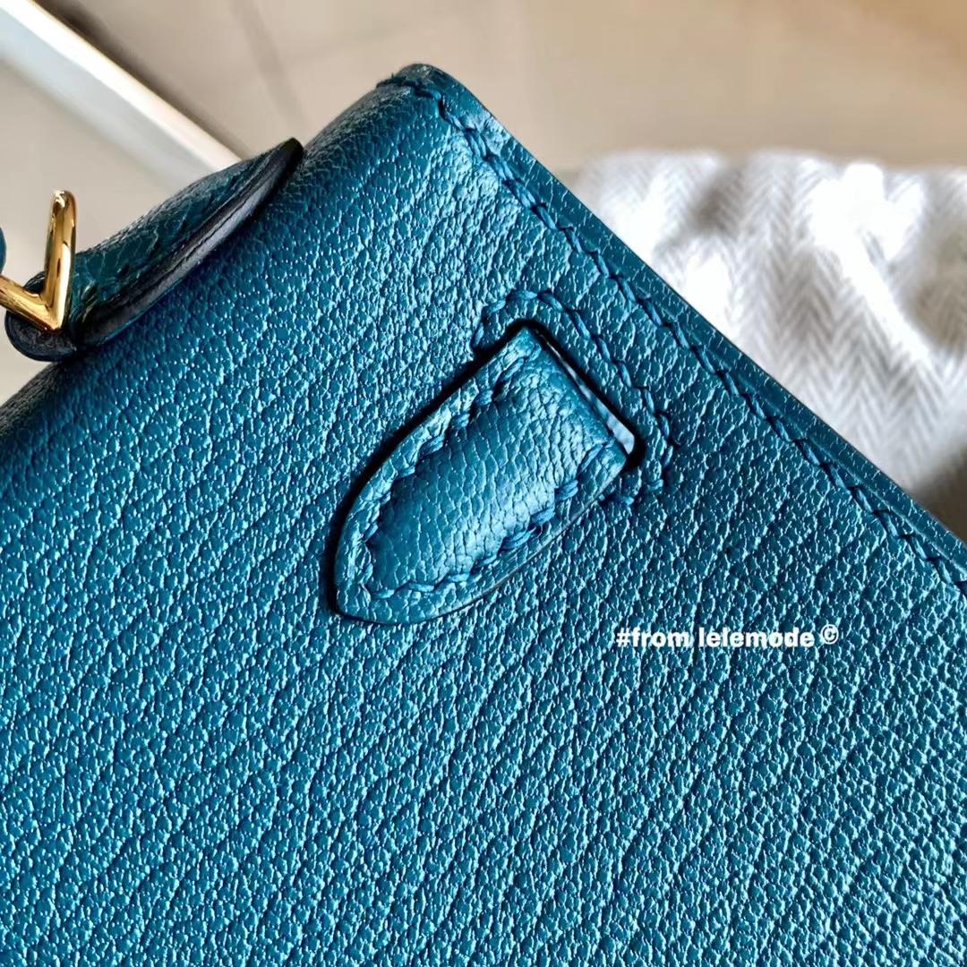Hermès(爱马仕)迷你凯莉 Minikelly 二代 海峡绿 W0 金扣 原厂山羊皮 全手缝