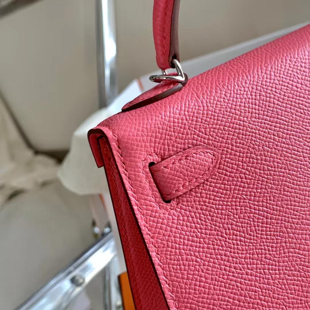 Hermès(爱马仕)Minikelly 迷你凯莉 二代 8W唇膏粉色 银扣 Epsom皮 全手缝