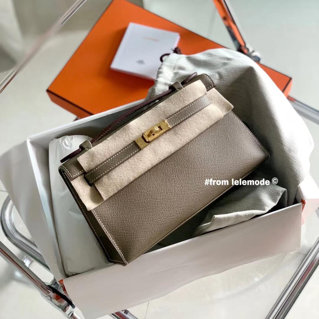 Hermès(爱马仕)迷你凯莉 Minikelly CK18 大象灰 原厂Epsom皮  金扣 全手缝