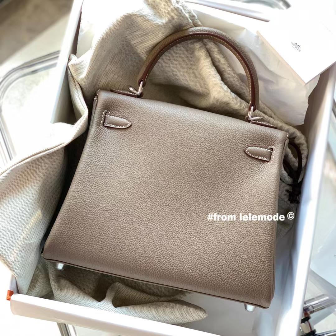 Hermès(爱马仕)Kelly 凯莉包 25cm 原厂togo皮 大象灰 银扣 全手缝