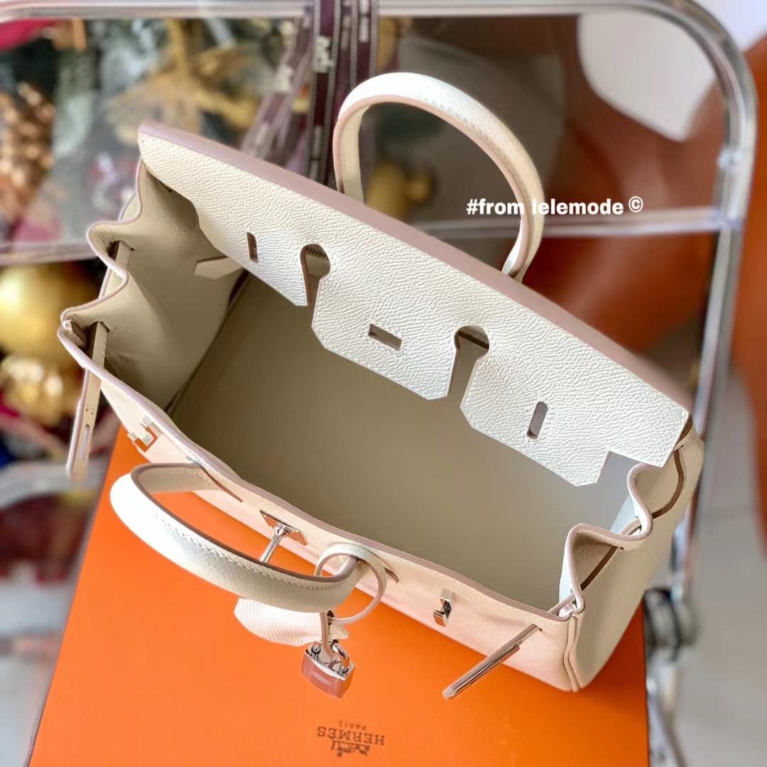 Hermès(爱马仕)H 铂金包 BK 25cm 超美 奶昔白 CC10 原厂Epsom皮 银扣 纯手缝
