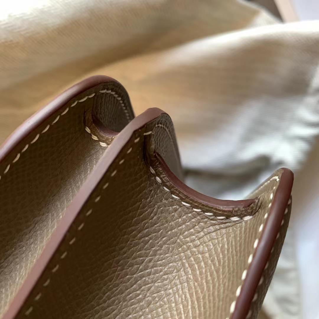 Hermès(爱马仕)Constance 康斯坦斯 小康 18cm 大象灰 CK18 原厂Epsom皮 银扣 全手缝