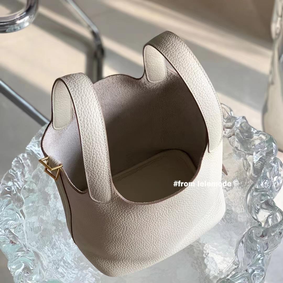 Hermès(爱马仕)奶昔白 CC10 原厂TC皮 Picotin Lock 菜篮子 18cm 全手缝