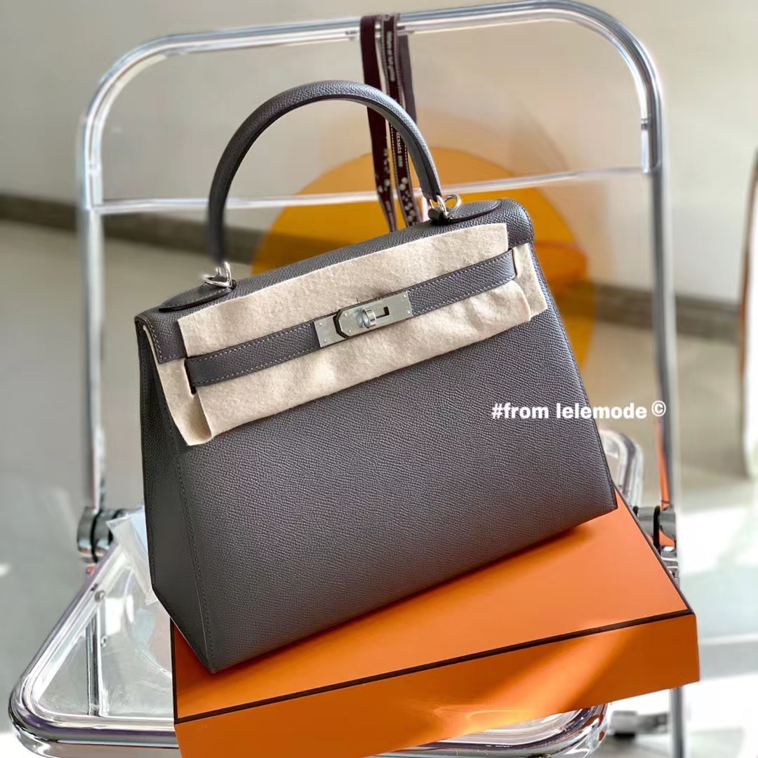 Hermès(爱马仕)Kelly 凯莉包 28cm 锡器灰 8F 原厂Epsom皮 银扣 全手缝