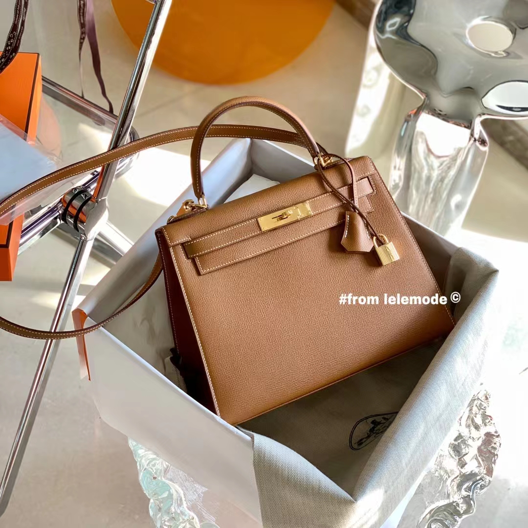 Hermès(爱马仕)Kelly 凯莉包 28cm 浅咖啡 金棕色 GOLD 原厂Epsom皮 金扣 纯手缝