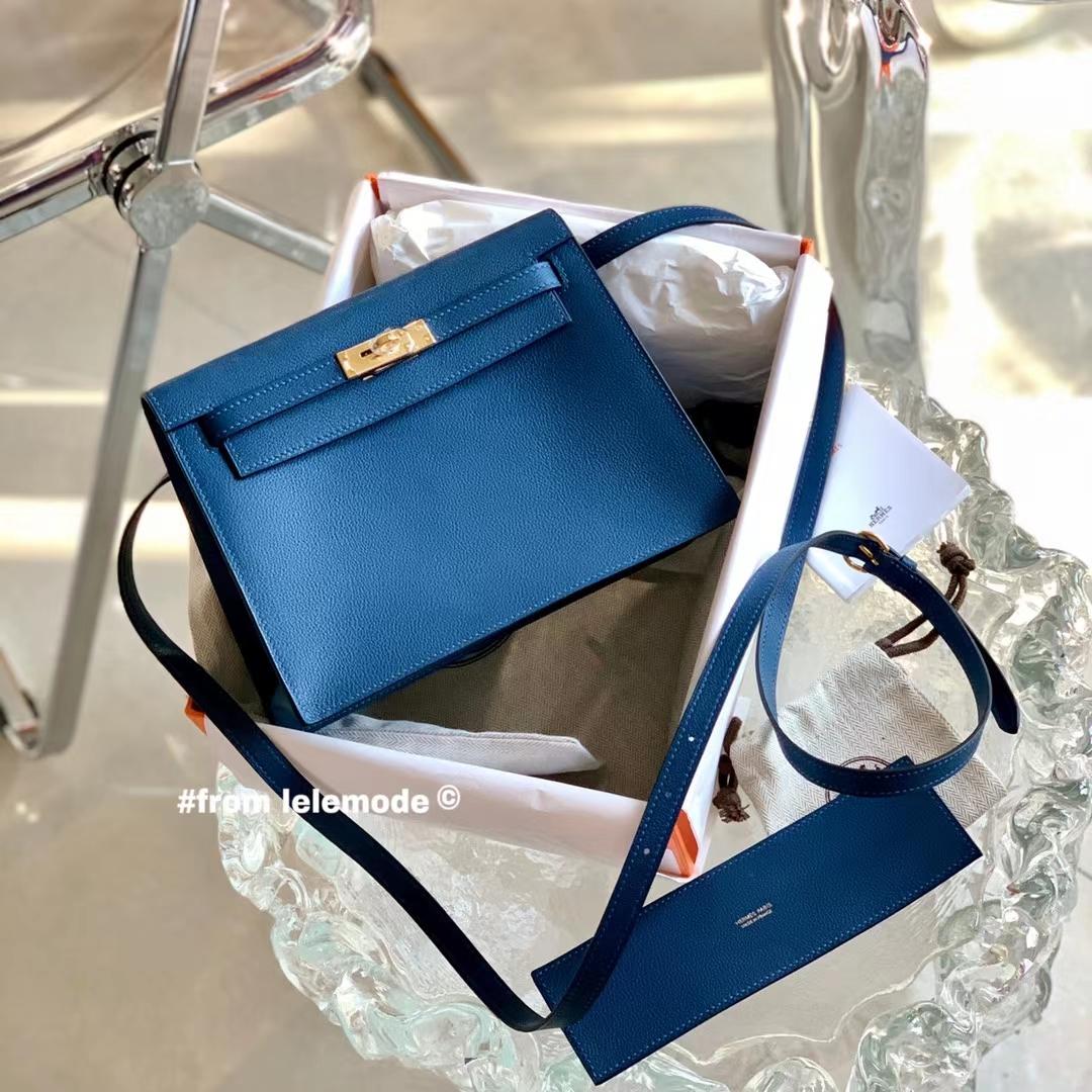 Hermès(爱马仕)凯莉包 Kelly Danse mini 深邃蓝 S4 原厂Evercolor皮 新版五金 全手缝
