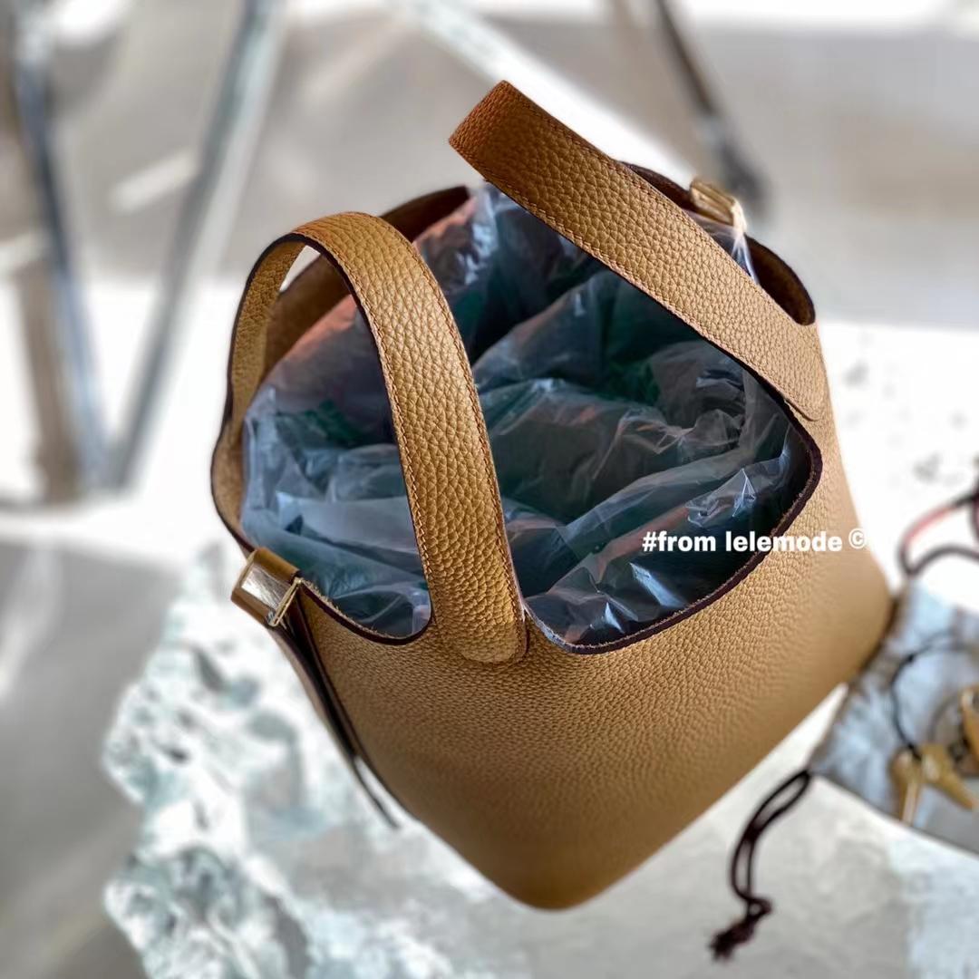 Hermès(爱马仕)芝麻色 2S 原厂TC皮 Picotin Lock 菜篮子 18cm 全手缝