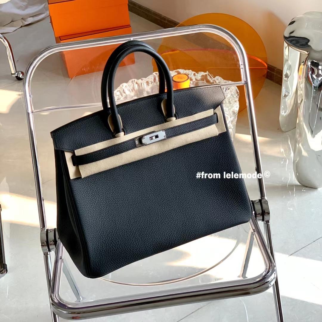 Hermès(爱马仕)铂金包 BK 35cm 全手缝 黑色 Nior 银扣 原厂Togo皮