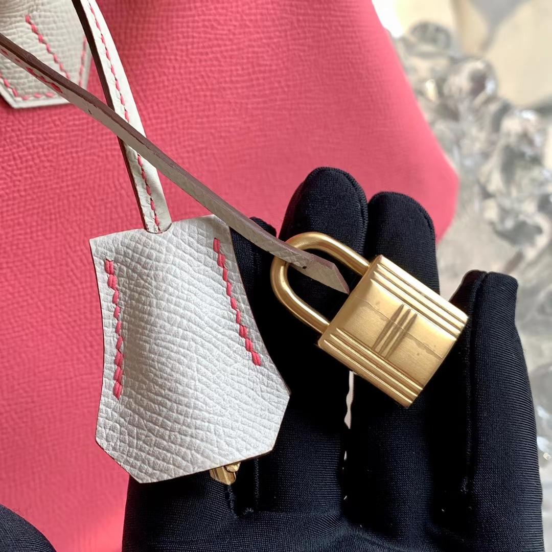 Hermès(爱马仕)铂金包 BK 30cm 唇膏粉 8W 拼 奶昔白 CC10 原厂Epsom皮 磨砂金扣 全手缝