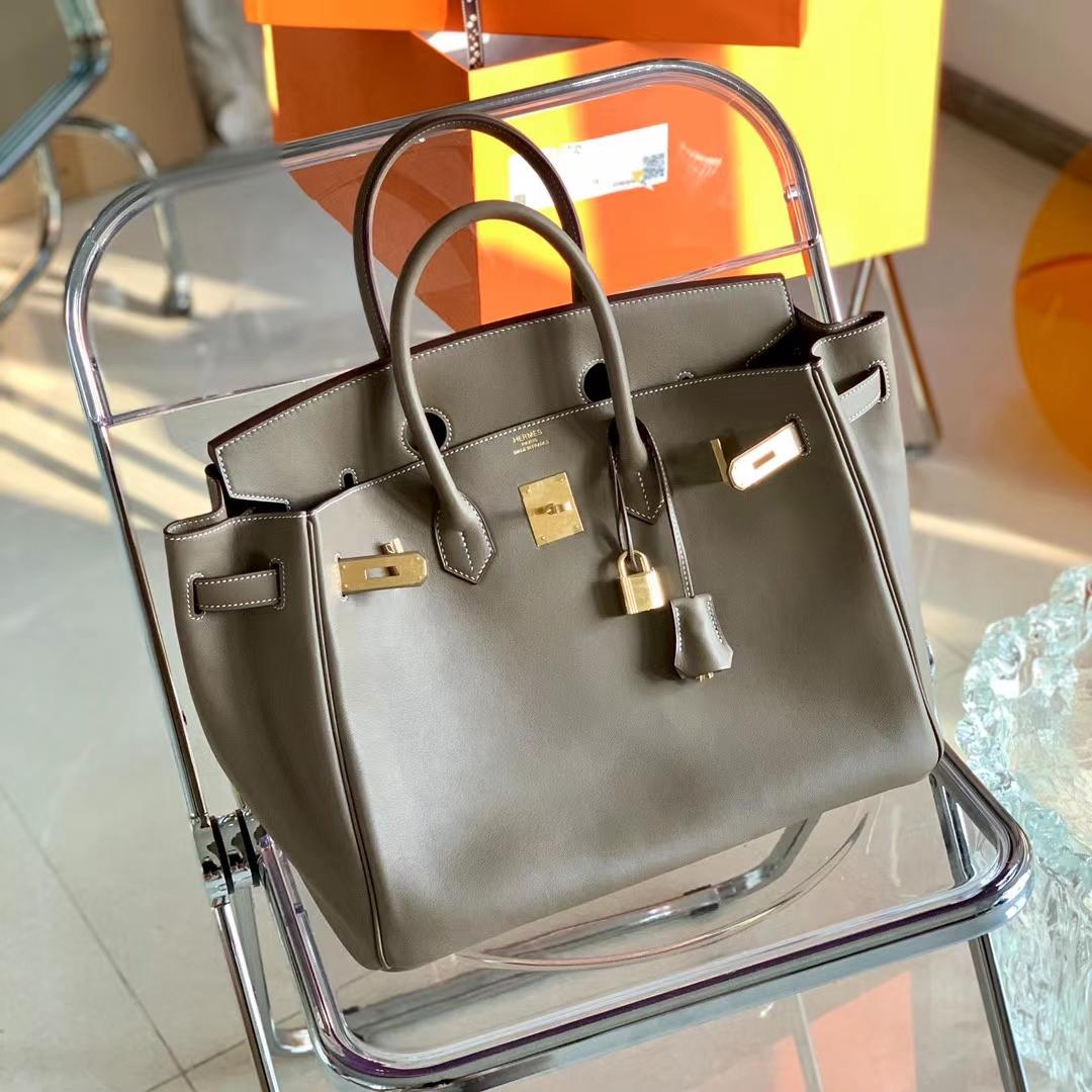 Hermès(爱马仕)铂金包 BK 35cm 全手缝 CK18 大象灰 原厂Swift皮 金扣