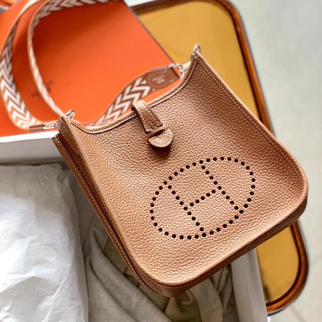 Hermès(爱马仕)迷你 伊芙琳 Evelyn mini 浅咖啡 金棕色 GOLD 原厂TC皮 单肩包